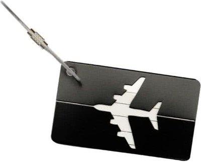 Aluminium Adres Koffer Bagage Label Tag Zwart