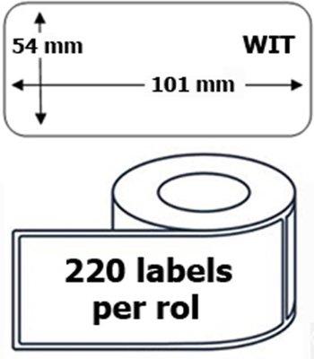 1x Dymo 99014 compatible 220 labels  / 54 mm x 101 mm / wit / papier