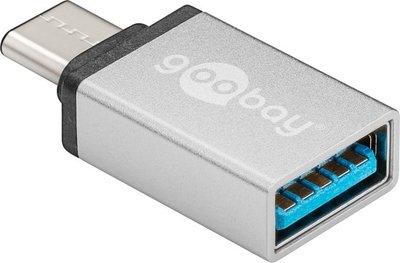 Goobay 56620 USB C USB A Zilver kabeladapter/verloopstukje