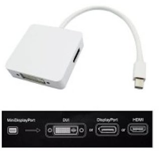 3 in 1 Mini DisplayPort naar DVI, HDMI en DisplayPort Adapter